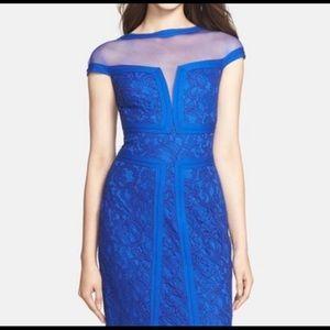 Illusion Yoke Sheath Dress Lapis Blue